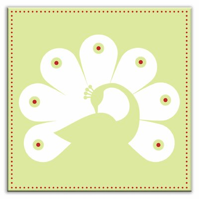 Folksy Love 4-1/4 x 4-1/4 Glossy Decorative Tile in Primped Peacock Mint-White