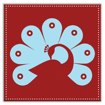 Folksy Love 6 x 6 Satin Decorative Tile in Primped Peacock Red-Light Blue
