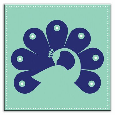Folksy Love 6 x 6 Satin Decorative Tile in Primped Peacock Teal-Navy
