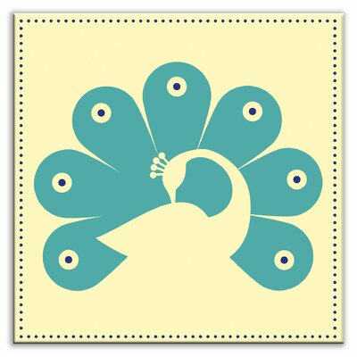 Folksy Love 4-1/4 x 4-1/4 Glossy Decorative Tile in Primped Peacock Yellow-Teal