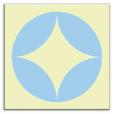 Folksy Love 6 x 6 Glossy Decorative Tile in Peek Light Blue-Yellow