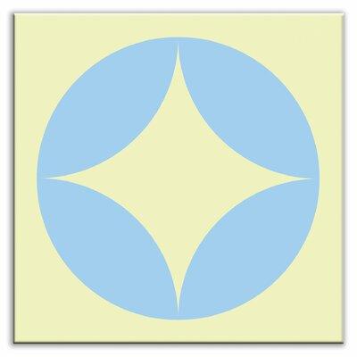 Folksy Love 6 x 6 Satin Decorative Tile in Peek Light Blue-Yellow
