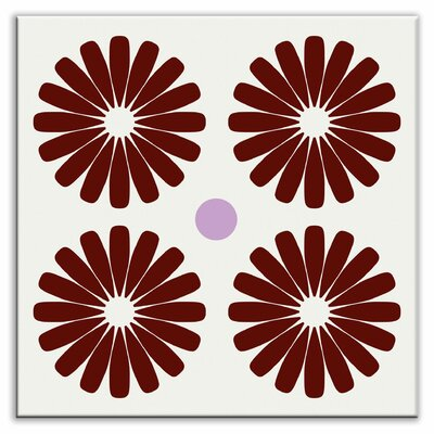 Folksy Love 4-1/4 x 4-1/4 Glossy Decorative Tile in Pinwheels Burgundy