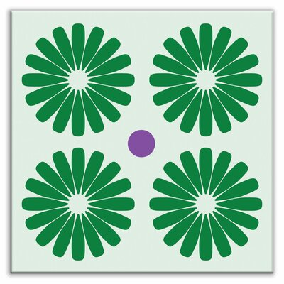 Folksy Love 6 x 6 Glossy  Decorative Tile in Pinwheels Green