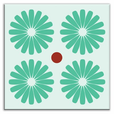 Folksy Love 6 x 6 Glossy Decorative Tile in Pinwheels Mint
