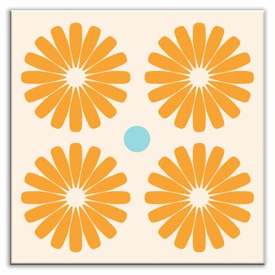 Folksy Love 4-1/4 x 4-1/4 Satin Decorative Tile in Pinwheels Orange