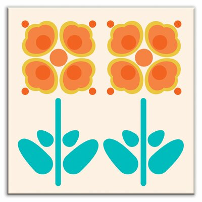 Folksy Love 4-1/4 x 4-1/4 Glossy Decorative Tile in Pressed Flowers Orange