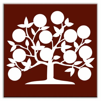 Folksy Love 6 x 6 Glossy Decorative Tile in Tree of Life Burgundy