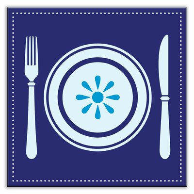 Kitschy Kitchen 4-1/4 x 4-1/4 Satin Decorative Tile in Lets Eat Blue