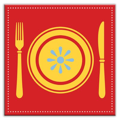 Kitschy Kitchen 6 x 6 Satin Decorative Tile in Lets Eat Red