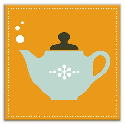 Kitschy Kitchen 4-1/4 x 4-1/4 Satin Decorative Tile in Spot of Tea Orange-Light Teal