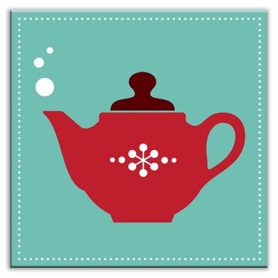 Kitschy Kitchen 4-1/4 x 4-1/4 Glossy Decorative Tile in Spot of Tea Teal-Red