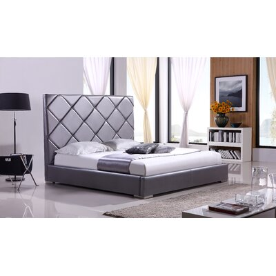 Verona Upholstered Platform Bed Upholstery: Gray Leather, Size: Queen