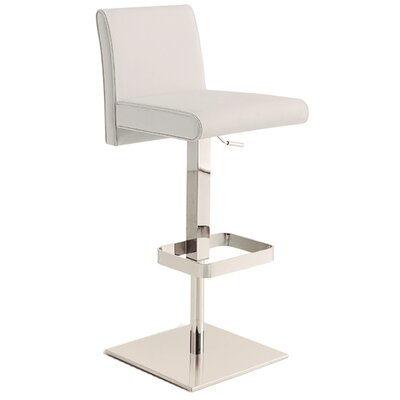 Vittoria Adjustable Height Swivel Bar Stool Upholstery: White