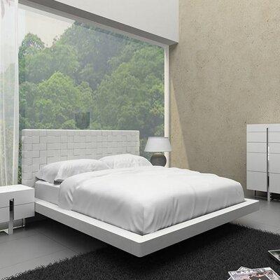 Zack Upholstered Platform Bed Size: King, Finish: White