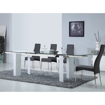 Torino Extendable Dining Table Base Color: High Gloss White Lacquer