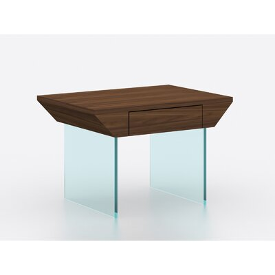 Bobadilla Modern End Table with Tempered Glass