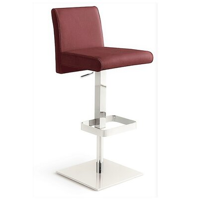 Blakey Adjustable Height Bar Stool Upholstery: Burgundy