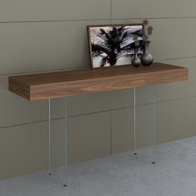 Board Console Table with Tempered Glass