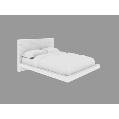 Zack Upholstered Platform Bed Size: King, Color: White