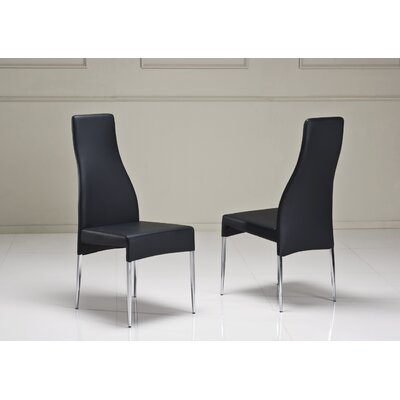 Valentino Upholstered Dining Chair (Set of 2) Color: Black
