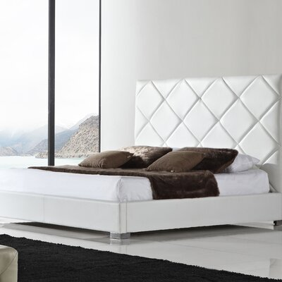 Verona Upholstered Platform Bed Upholstery: White Leather, Size: Queen