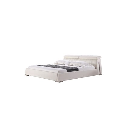 Angel Upholstered Platform Bed Upholstery: White Leather