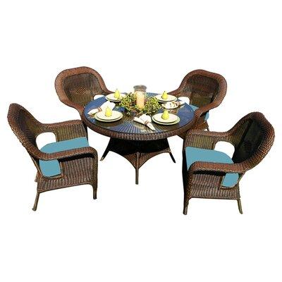 Tortuga Outdoor Lexington 5 Piece Dining Set - Fabric Color: Vera Cruz Coal, Finish: Java