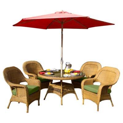 Tortuga Outdoor Lexington 5 Piece Dining Set - Finish: Mojave, Fabric Color: Sunbrella Jockey Red at Sears.com