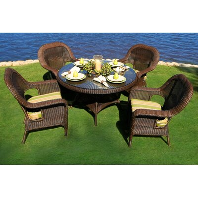 Tortuga Outdoor Lexington 5 Piece Dining Set - Finish: Tortoise, Fabric Color: Inoteka Indigo at Sears.com
