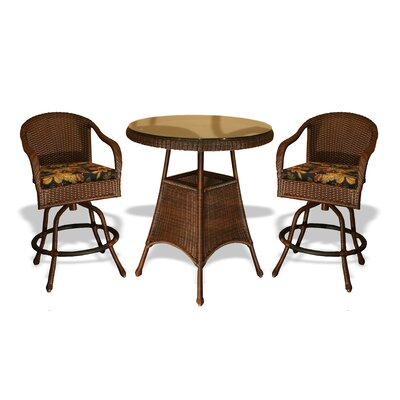 Tortuga Outdoor Lexington 3 Piece Bar Height Dining Set - Finish: Tortoise, Fabric: Rave Lemon at Sears.com