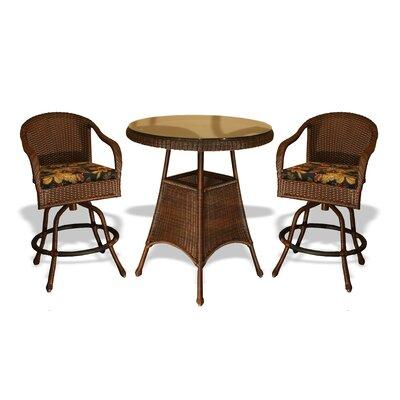 Tortuga Outdoor Lexington 3 Piece Bar Height Dining Set - Fabric: Inoteka Indigo, Finish: Java at Sears.com