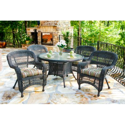 Tortuga Outdoor Portside 5 Piece Dining Set - Fabric Color: Eastbay Pompeii, Finish: Dark Roast at Sears.com