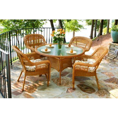 Tortuga Outdoor Portside 5 Piece Dining Set - Finish: Amber, Fabric Color: Amsterdam Royal at Sears.com