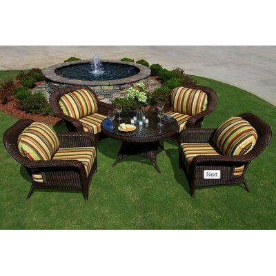Tortuga Outdoor 5 Piece Conversation Seating Group - Fabric: Inoteka Indigo, Finish: Mojave