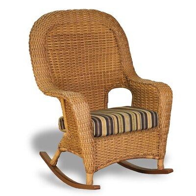 Tortuga Outdoor Lexington Rocking Chair with Cushion - Finish: Java, Fabric: Rave Lemon
