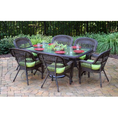 Tortuga Outdoor Portside 7 Piece Dining Set - Finish: Dark Roast, Fabric: Monti Leaf at Sears.com