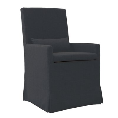 Hoang Arm Dining Charcoal Gray Upholstered Dining Chair Accessory: With Caster
