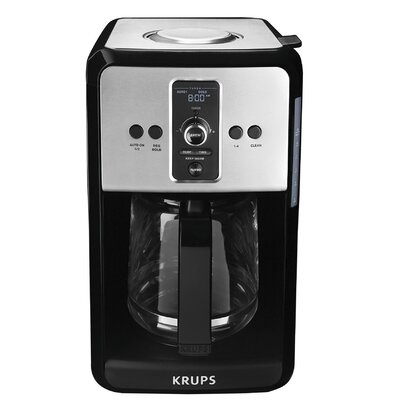 Krups Savoy Turbo 12-Cup Stainless Steel Coffee Maker with Glass Carafe EC412050