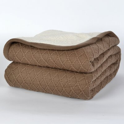 Diamond Sweater Knit Blanket Color: Porcini, Size: Twin