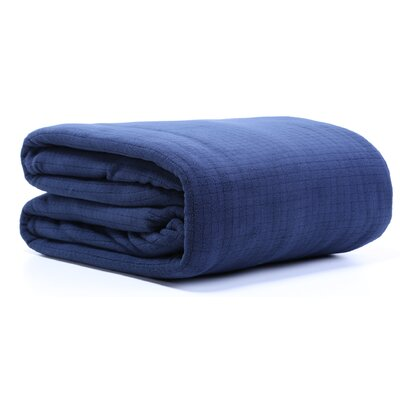 Polartec� Grid Fleece Throw Blanket Size: Full/Queen, Color: Navy Blazer
