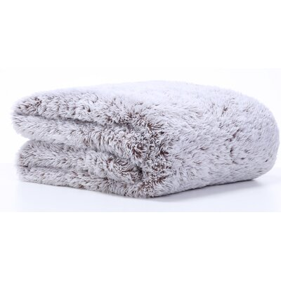 Frosted Tip Fluffy Throw Blanket Color: Chocolate