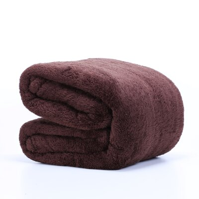 Fluffy Bed Blanket Size: Twin, Color: Chocolate