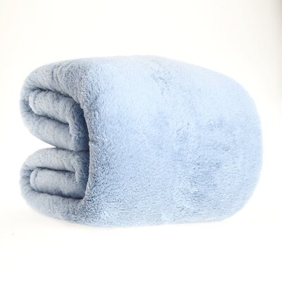 Fluffy Bed Blanket Size: King, Color: Blue Mist