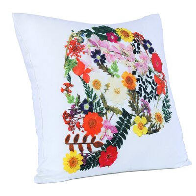 Brooklyn Skull of Flowers Cotton Throw Pillow