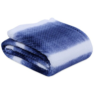Textured Ombre Striped Throw Size: King, Color: Estate Blue