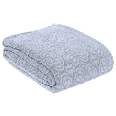 Garden Mosaic Plush Blanket Size: Twin, Color: Silver Sage