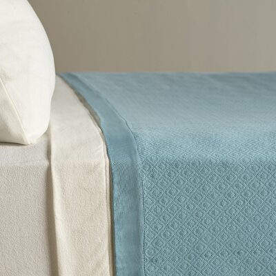 Diamond Knit Quilted Cotton Blanket Size: Twin, Color: Ocean
