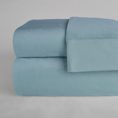 UltraLight� Brushed Cotton 4 Piece Sheet Set Color: Opal Blue, Size: Queen
