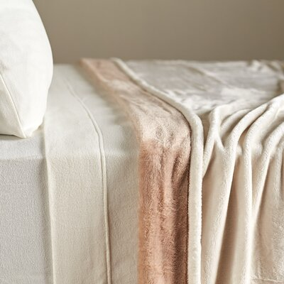 VelvetLoft� Dual-Color Reversible Blanket Size: Twin, Color: Cream